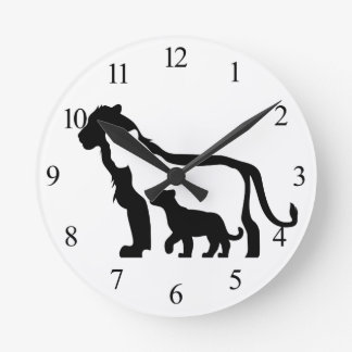 Black and White Lions Wall Clocks