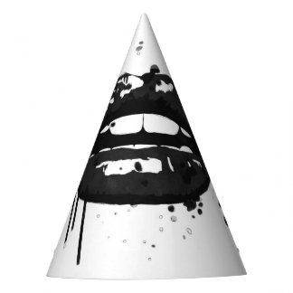 Black and white lips fashion party supplies party hat