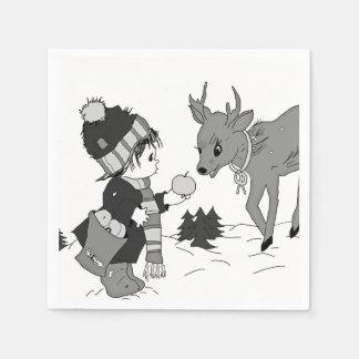 black and white little boy feeding reindeer disposable napkin