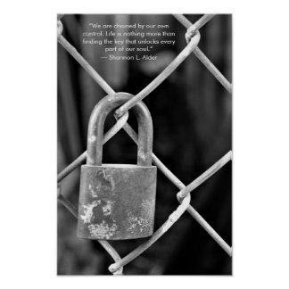 Black and White Lock Inspiration Quote Poster