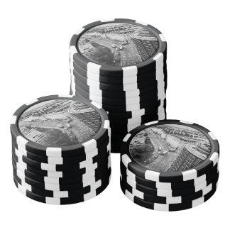 Black and White London City Poker Chip Set