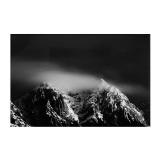 Black and white long exposure clouds over mountain acrylic print