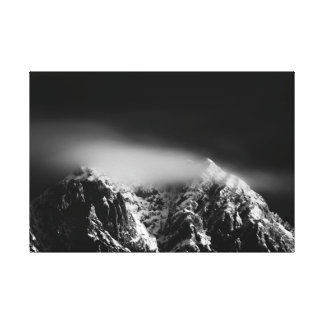 Black and white long exposure clouds over mountain canvas print