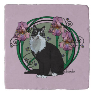 Black and White Long-Haired Cat with Irises Trivet