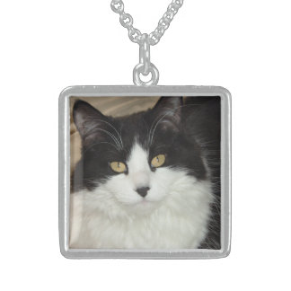 Black and White Longhaired Cat Sterling Silver Necklace