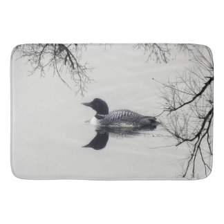 Black and white loon on a lake  Bathroom mat