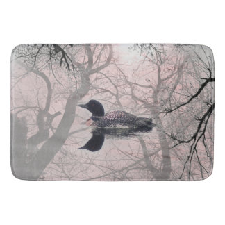 Black and white loon on a lake  Bathroom mat pink