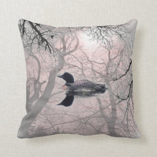 Black and white loon on a lake decor pillow pink