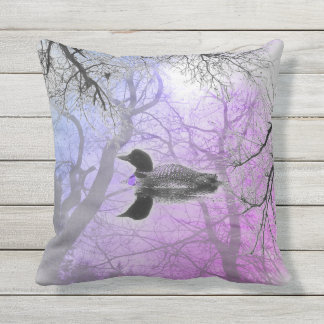 Black and white loon on a lake decor pillow purple