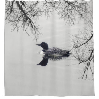 Black and white loon on a lake  Shower Curtain