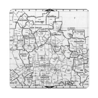 Black and White Los Angeles County Street Atlas Puzzle Coaster