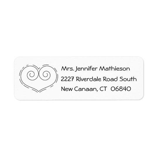 Black And White Love Heart Address Return Address Label