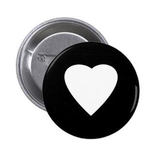 Black and White Love Heart Design. 2 Inch Round Button