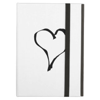 Black and White Love Heart Design. iPad Air Covers