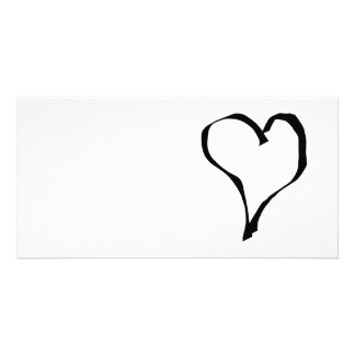 Black and White Love Heart Design Photo Cards