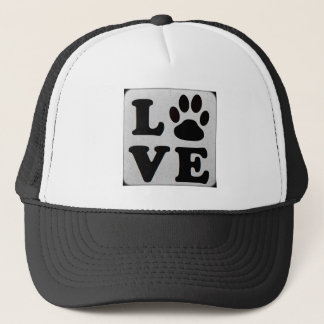 Black and white LOVE paw print Baseball Cap