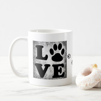 Black and White LOVE Paw Print Coffee Mug