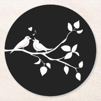 Black And White Lovebirds Wedding, Bridal Shower Round Paper Coaster