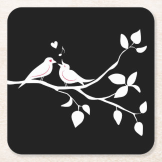 Black And White Lovebirds Wedding, Bridal Shower Square Paper Coaster