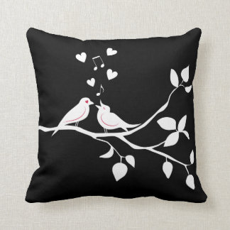 Black And White Lovebirds - Wedding Bridal Shower Throw Pillow