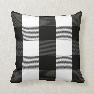 Black and White Lumberjack Plaid Flannel Pattern Throw Pillow