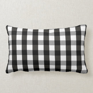 Black and White Lumberjack Plaid Lumbar Pillow