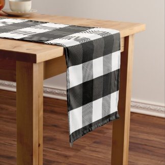 Black and White Lumberjack Plaid Short Table Runner