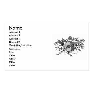 Black and white lute and plants graphic business card template