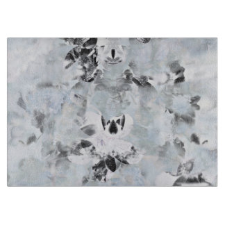 Black and white luxurious abstract modern art cutting board