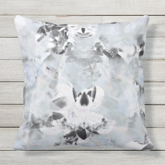 Black and white luxurious abstract modern art outdoor pillow