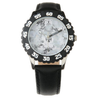 Black and white luxurious abstract modern art wrist watch