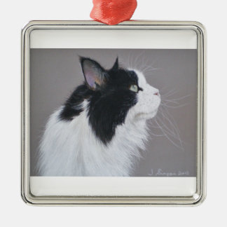 Black and White Maine Coon cat. Metal Ornament