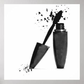 Black and white makeup beauty mascara fashion poster