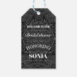 Black and white mandala bridal shower gift tags