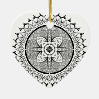 Black and white mandala ceramic ornament
