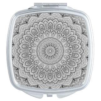 Black and white Mandala Compact Mirrors