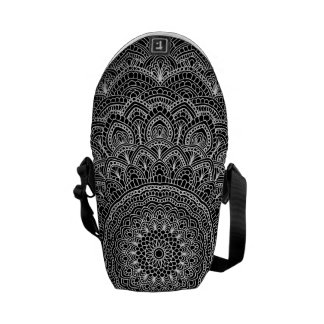 Black and white Mandala Courier Bags