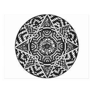 Black and white mandala design postcard