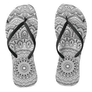 Black and white Mandala Flip Flops