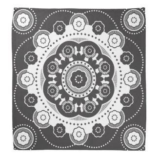 Black and White mandala flower Bandana