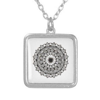 Black and White Mandala Item Silver Plated Necklace
