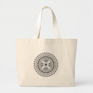 Black and white mandala large tote bag