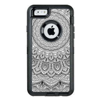 Black and white Mandala OtterBox Defender iPhone Case