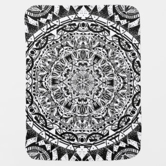 Black and white mandala pattern baby blanket