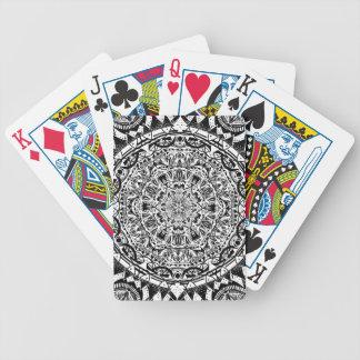 Black and white mandala pattern bicycle playing cards