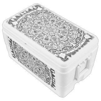 Black and white mandala pattern chest cooler