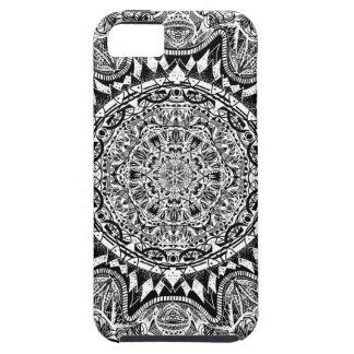Black and white mandala pattern iPhone 5 cover