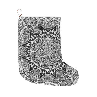 Black and white mandala pattern large christmas stocking