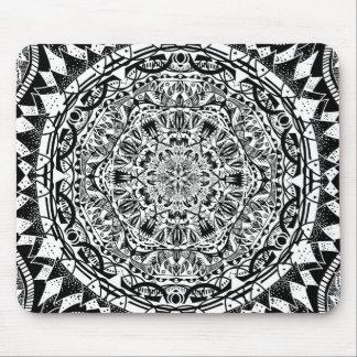 Black and white mandala pattern mouse pad