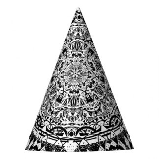 Black and white mandala pattern party hat